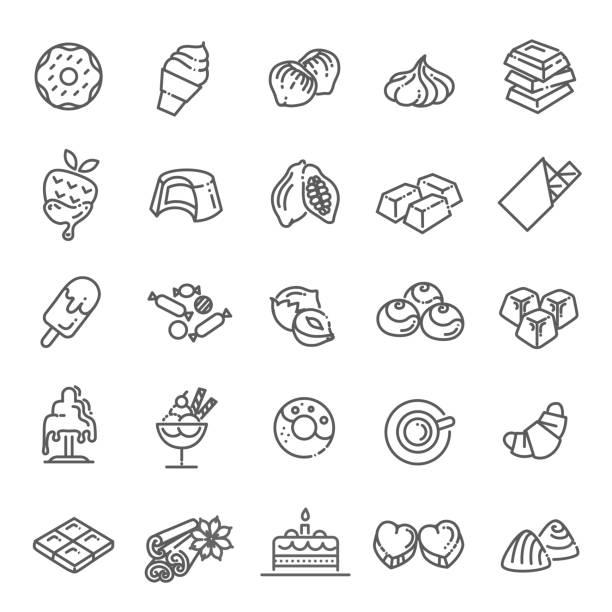 flaches design schokolade, dessert, kakao und süßigkeiten inmitten sie vektor-linie-icons - schokolade stock-grafiken, -clipart, -cartoons und -symbole