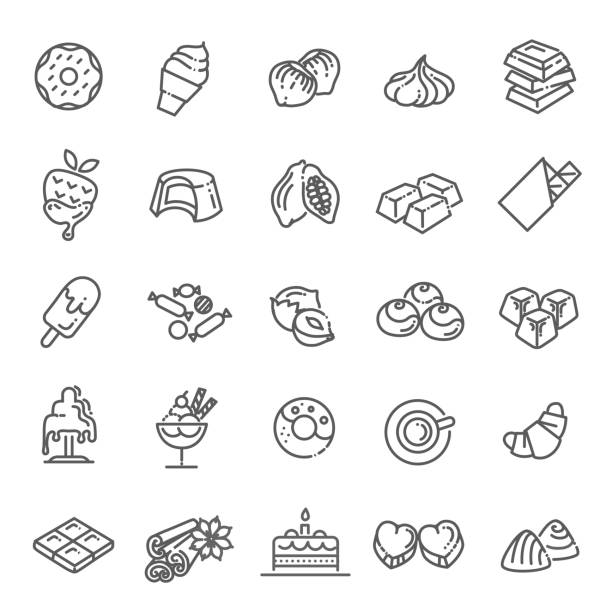 Set vector line icons in flat design chocolate, dessert, cacao and candy chocolate icons collection. Vector candy pudding stock illustrations