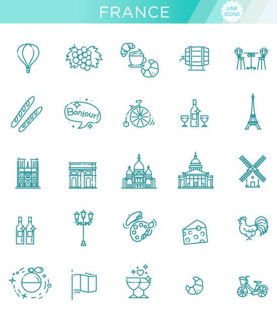 Set vector line icons in flat design France France Icons Set.France Illustration.France Flat Symbols.Paris Design Set. Paris Elements Collection french culture stock illustrations