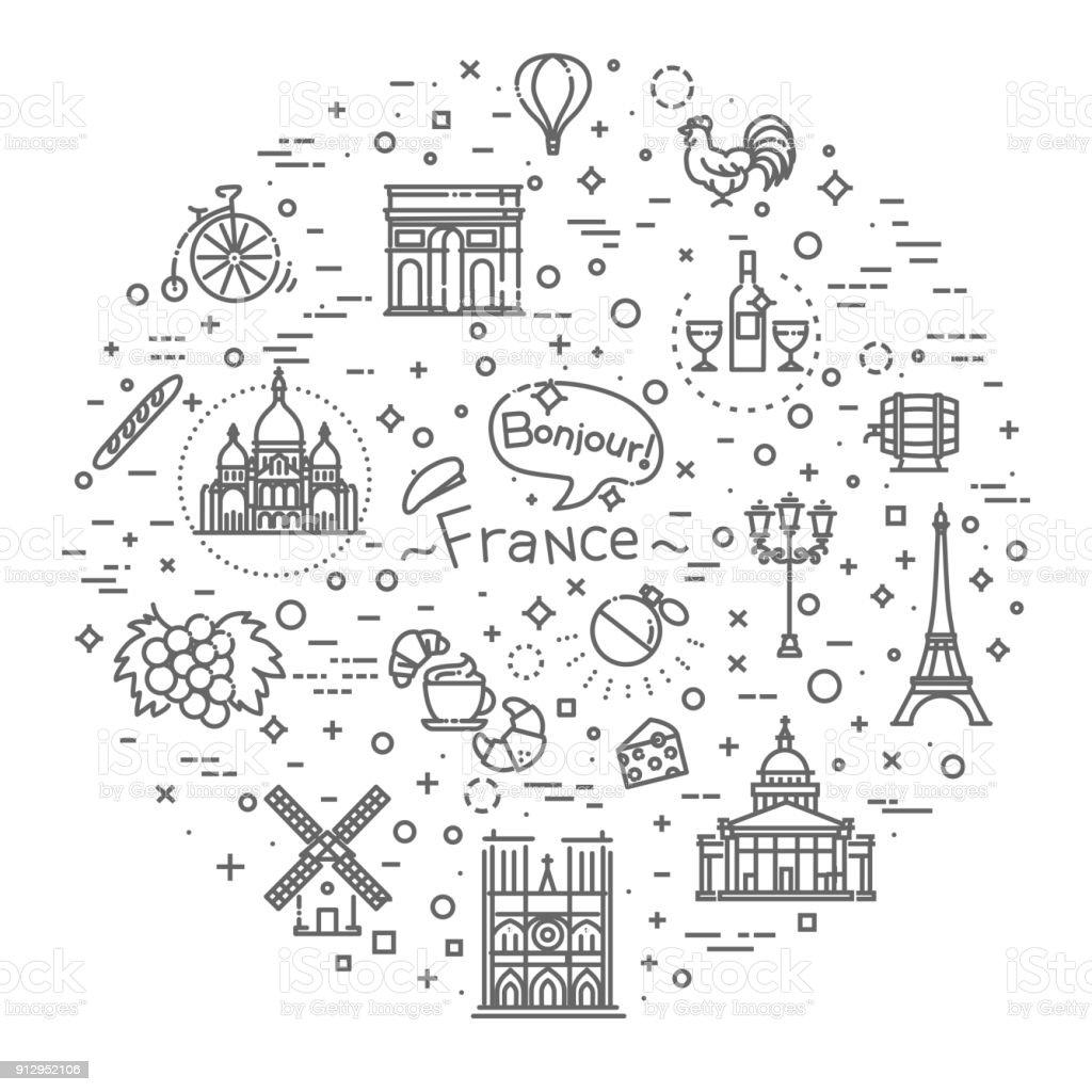 Vektor-Linie-Icons im flat Design Frankreich gesetzt – Vektorgrafik