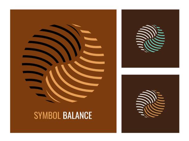 ilustraciones, imágenes clip art, dibujos animados e iconos de stock de set vector logotipo. resumen el símbolo yin yang sobre fondo marrón oscuro. - yin yang symbol