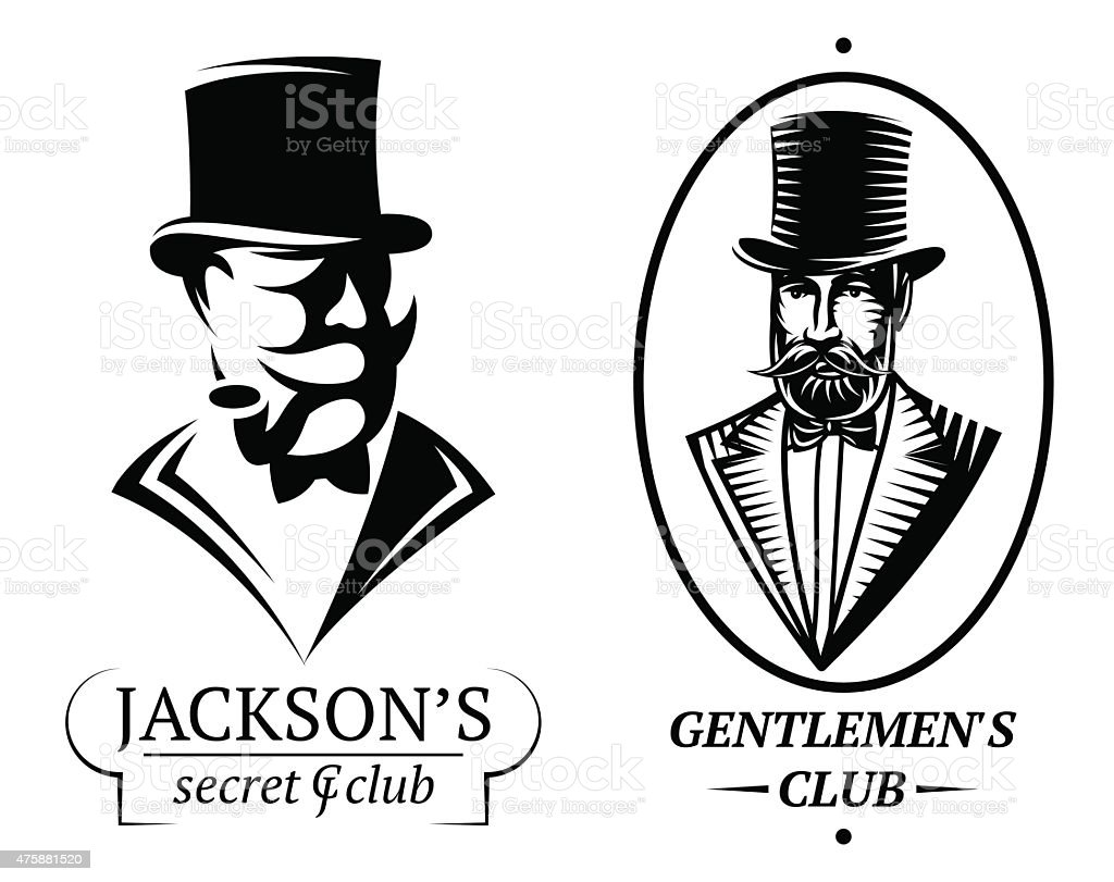 set vector logo templates for gentlemen's club vector art illustration