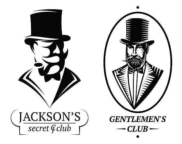 stockillustraties, clipart, cartoons en iconen met set vector logo templates for gentlemen's club - guy with cigar