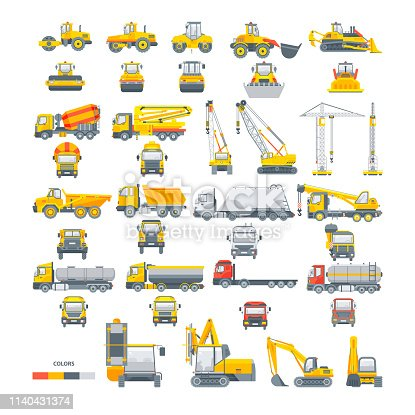 Collection set vector machinery Asphalt machine Bagger Bulldozer Cement mixer Concrete pump Crane Dumper truck Equipment tunnel Kipper Loader TRACTOR BUILDING MATERIAL GRIT OIL WATER TRANSPORTATIOn.