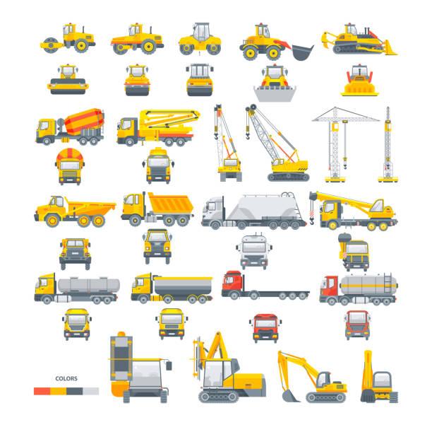 bildbanksillustrationer, clip art samt tecknat material och ikoner med uppsättning vektor maskiner asfalt maskin - traktor pulling