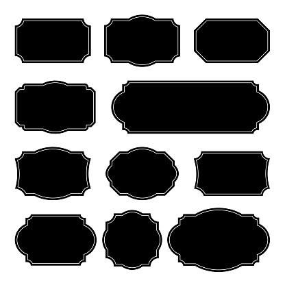 Set vector monochrome vintage frames. Design elements for greeting cards or invitations. Decorative text backgrounds