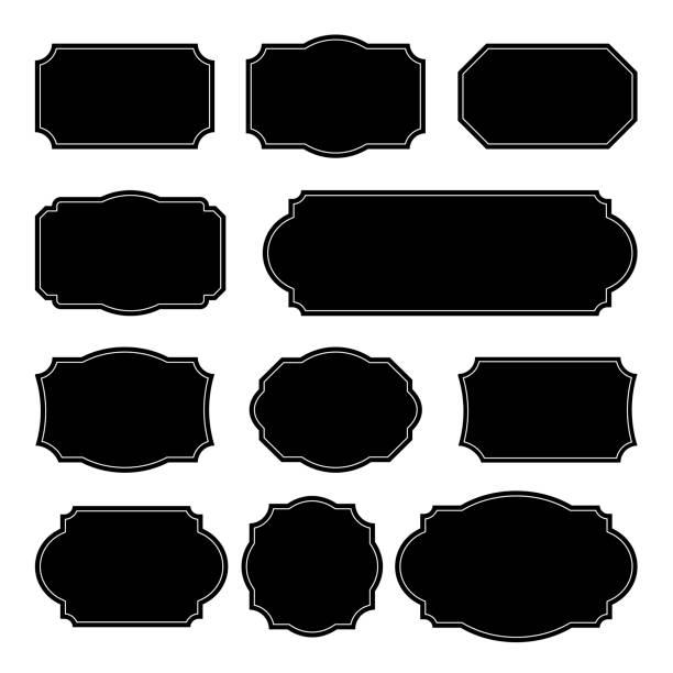 ustaw wektorowe monochromatyczne ramki vintage. elementy projektu dla kart okolicznościowych lub zaproszeń. dekoracyjne tła tekstowe - ozdobny stock illustrations