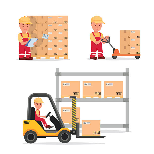 stockillustraties, clipart, cartoons en iconen met set vector people in the field of logistics, cargo storage. - warehouse worker