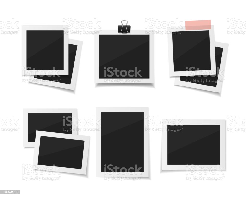 Set Vector photos sticked down with paper tape or paperclip. . vector art illustration