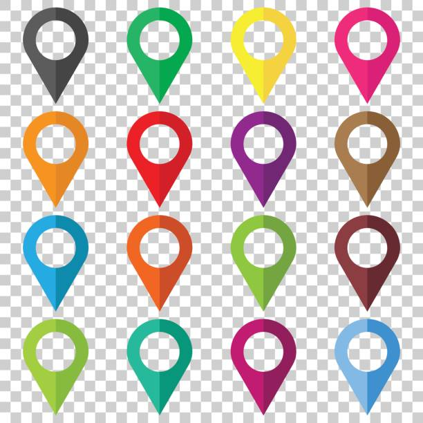 Set vector pin icons. Location sign in flat style isolated on isolated background. Navigation map, gps concept. vector art illustration