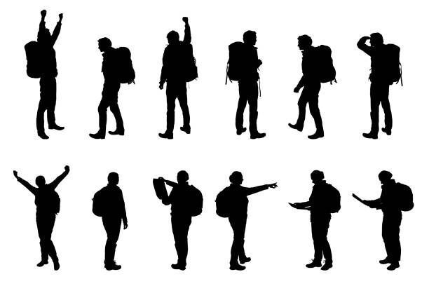 Set vector realistic silhouettes tourists - man and woman, with backpacks Set vector realistic silhouettes tourists - man and woman, with backpacks hiking stock illustrations