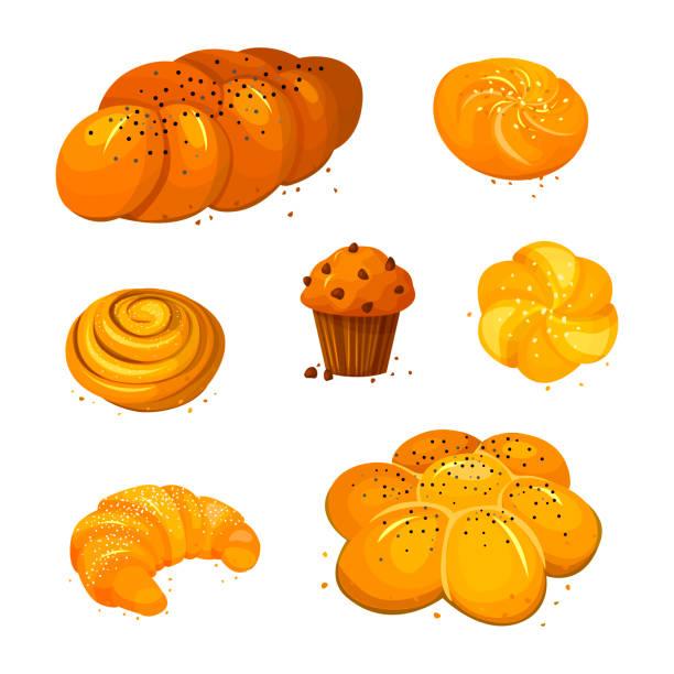 süßes brot vektor-icons set. vektor-illustration isoliert auf einem weißen hintergrund. backware im cartoon-stil. - brotzopf stock-grafiken, -clipart, -cartoons und -symbole