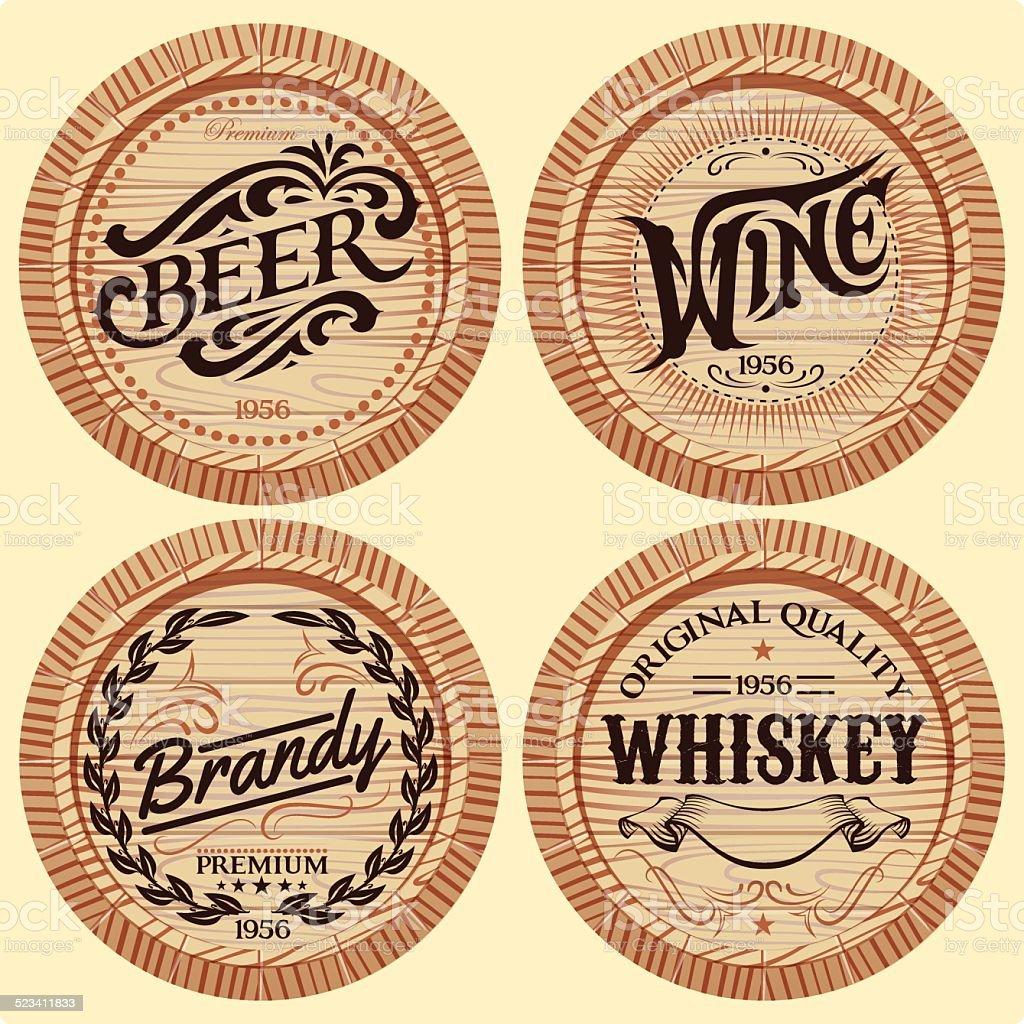 set vector template wooden barrels for alcoholic beverages vector art illustration