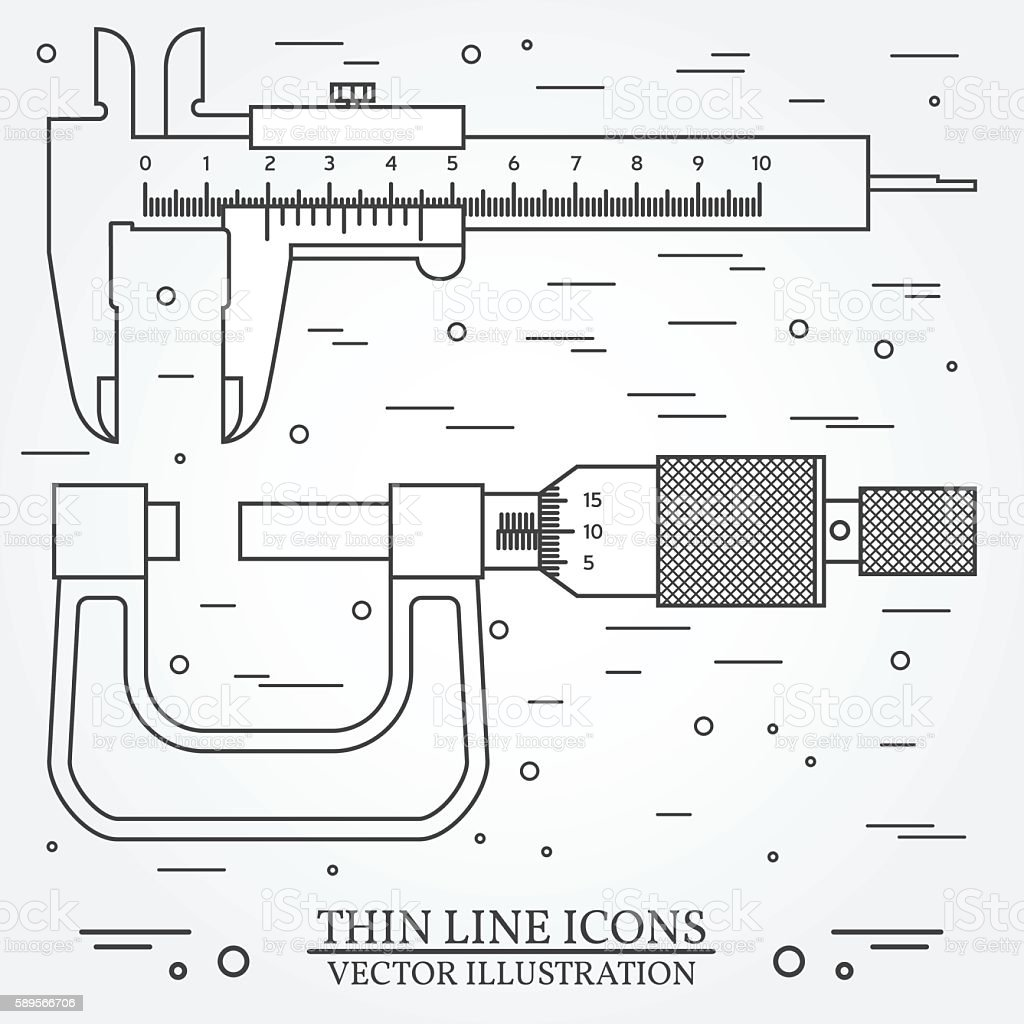 Set Vector Thin Line Icons Caliper And Micrometer Stock Vector Art