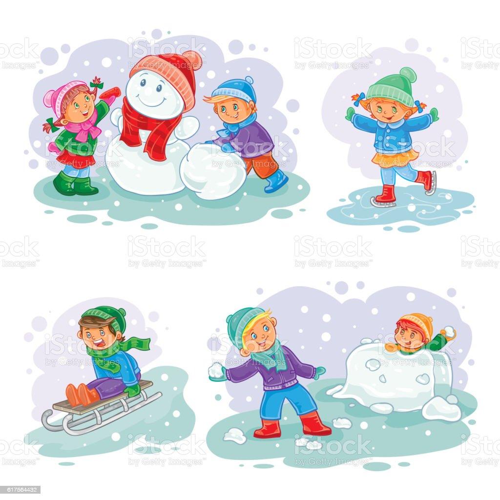 Set vector winter icons with little children - ilustração de arte em vetor