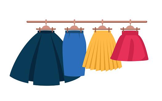 Set Vector Women's High Waisted Street Skirt Skater Pleated Full Midi Skirts on the hanger.