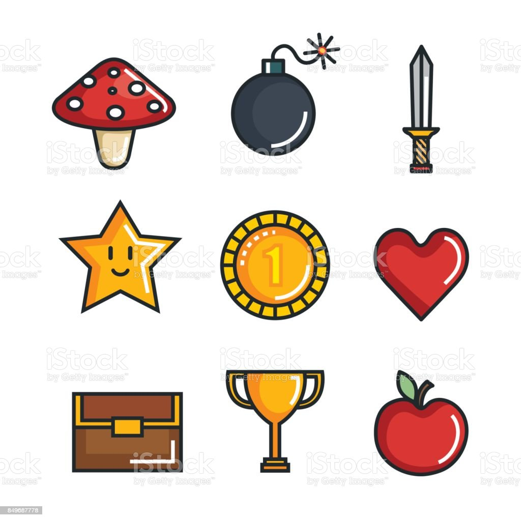 Set Video Game Entertaining Items Symbols Stock Illustration