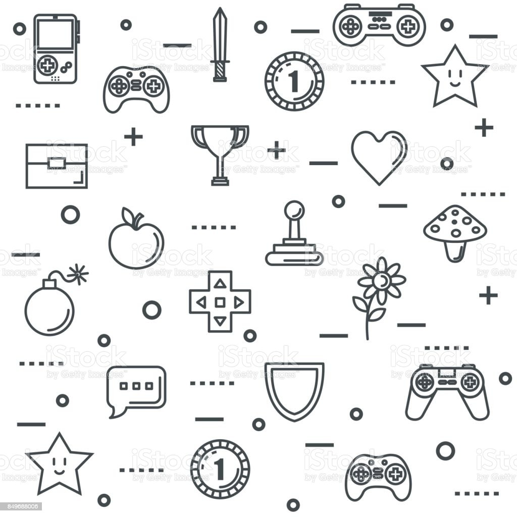 Set Video Game Entertaining Items Symbols Stock Illustration