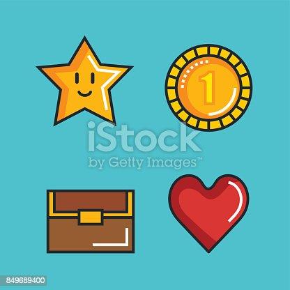 Set Video Game Entertaining Items Symbols Stock Vector Art 849689400