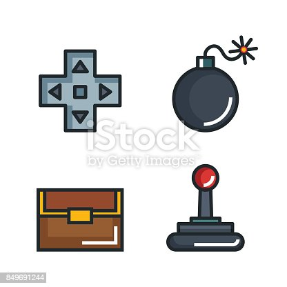 Set Video Game Entertaining Items Symbols Stock Vector Art 849691244