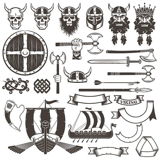 illustrations, cliparts, dessins animés et icônes de ensemble des viking - cornu