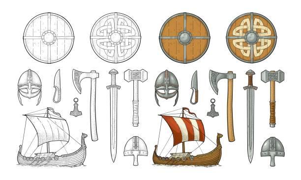 Set de viking. Couteau, drakkar, hache, casque, épée, marteau, Amulette de thor - Illustration vectorielle