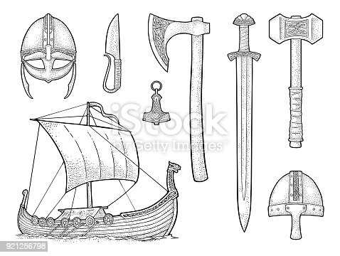 Set viking. Knife, drakkar, axe, helmet, sword, hammer, thor amulet with runes. Vintage vector color engraving illustration isolated on white background. Hand drawn design element for poster, tattoo
