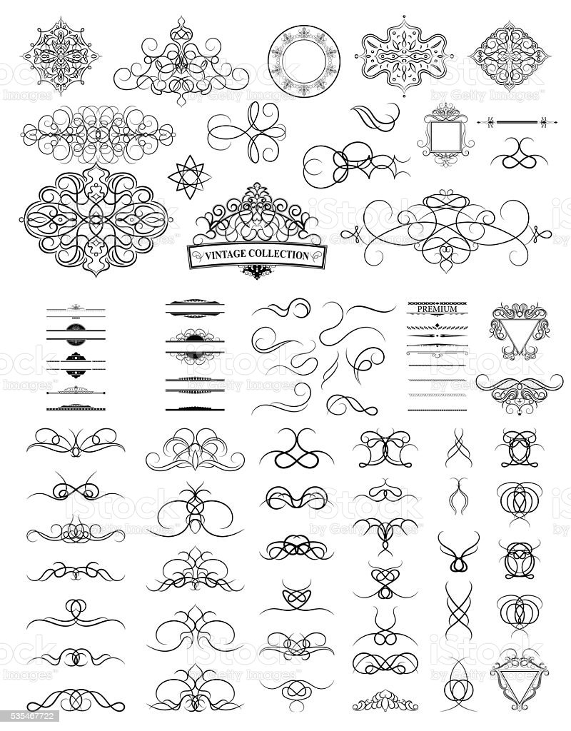 Satz Von Jahrgang Grenzen Rahmen Und Rosete Dekoration Für Das Logo ...