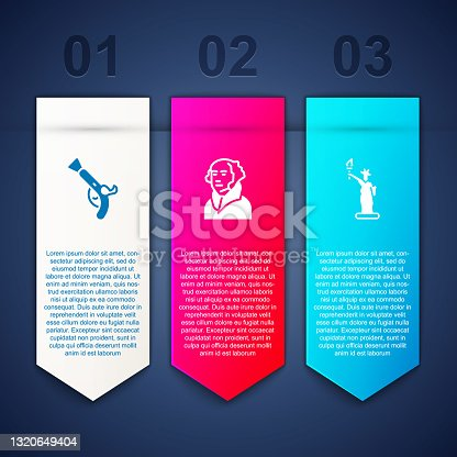 istock Set Vintage pistols, George Washington and Statue of Liberty. Business infographic template. Vector 1320649404