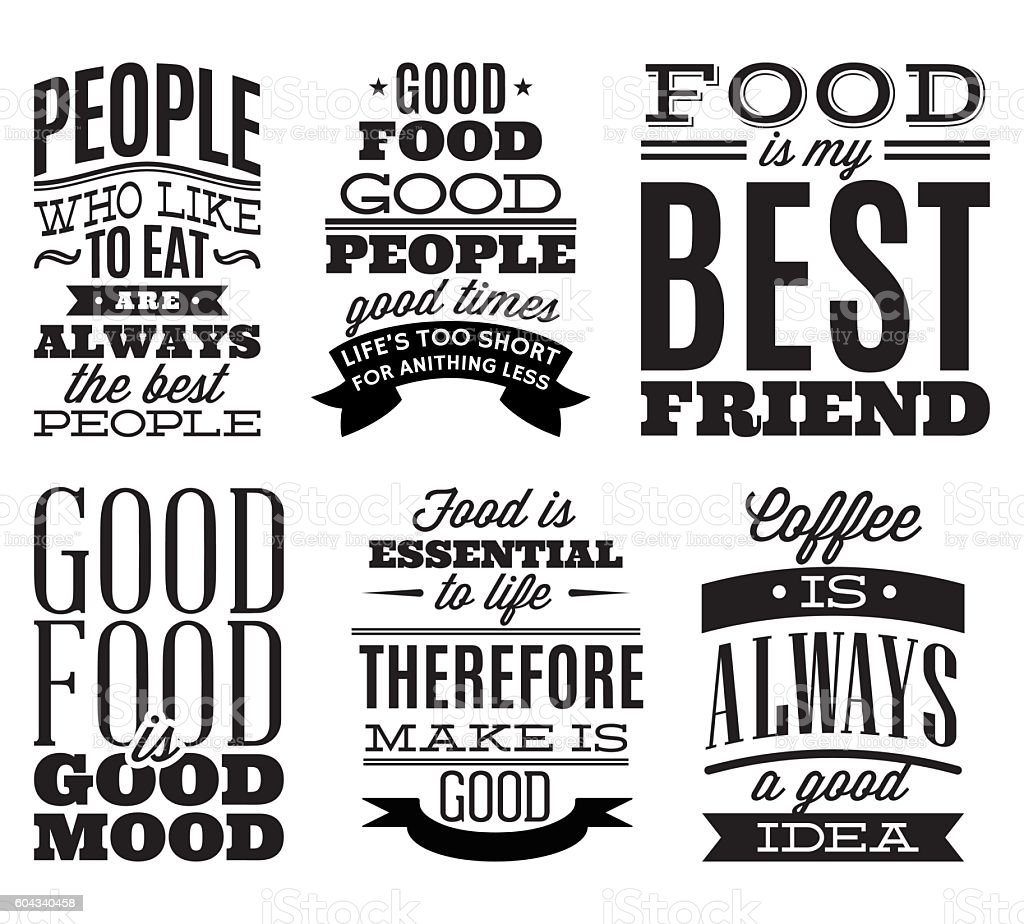 Set Vintage Typographic Food Quotes To The Menu Or Tshift Stock