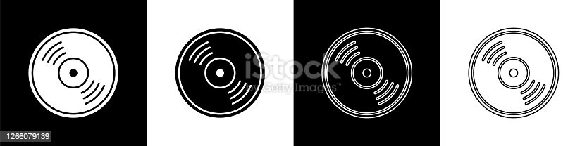 istock Set Vinyl disk icon isolated on black and white background. Vector Illustration 1266079139