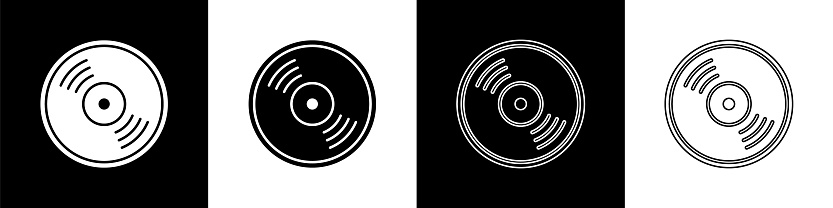 Set Vinyl disk icon isolated on black and white background. Vector Illustration