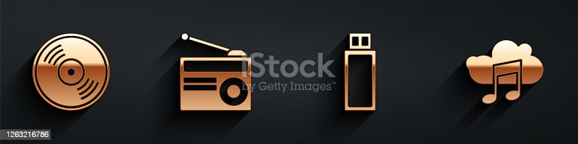 Set Vinyl disk, Radio with antenna, USB flash drive and Music streaming service icon with long shadow. Vector