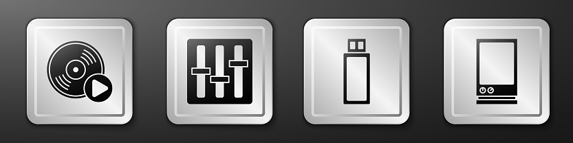 Set Vinyl disk, Sound mixer controller, USB flash drive and Voice assistant icon. Silver square button. Vector