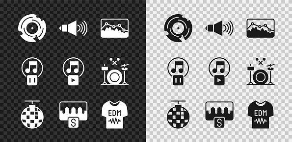 Set Vinyl disk, Speaker volume, Music wave equalizer, Disco ball, T-shirt, Pause button and Play square icon. Vector