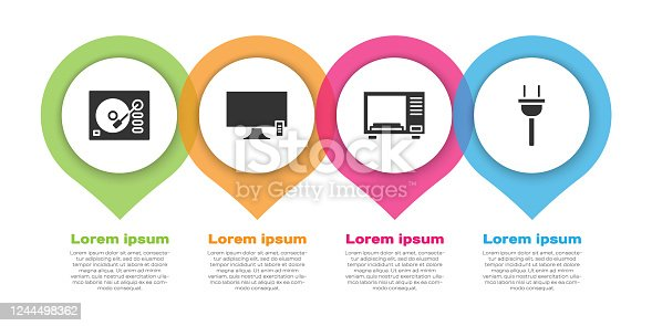 Set Vinyl player, Smart Tv, Microwave oven and Electric plug. Business infographic template. Vector