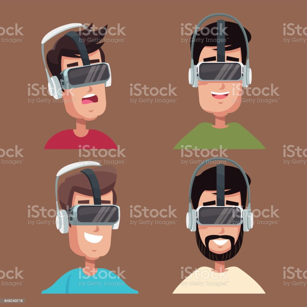 set  virtual reality wearing goggl vector art illustration