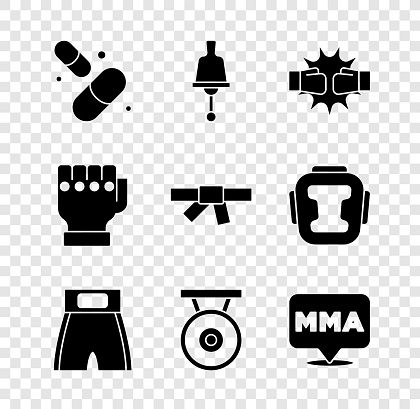Set Vitamin pill, Ringing bell, Punch boxing gloves, Boxing short, Gong, Fight club MMA, and Black karate belt icon. Vector
