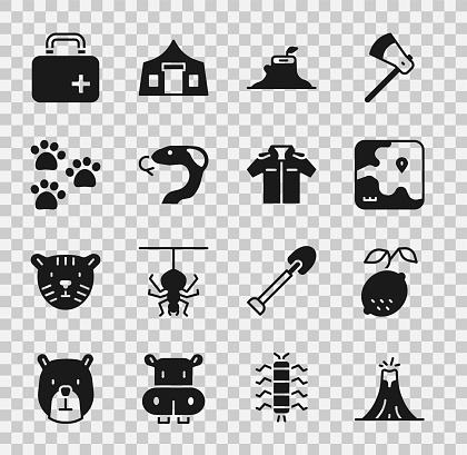 Set Volcano eruption, Lemon, Africa safari map, Tree stump, Snake, Paw print, First aid kit and Shirt icon. Vector