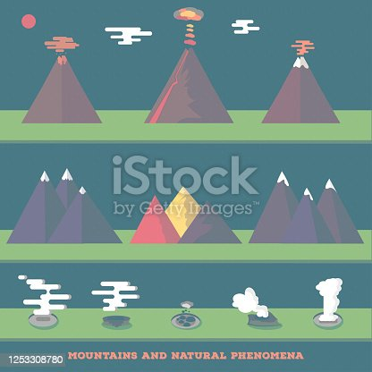 Set volcanoes, mountains and geysers erupting and quiet, for your wild nature design. Vector. Vector illustration