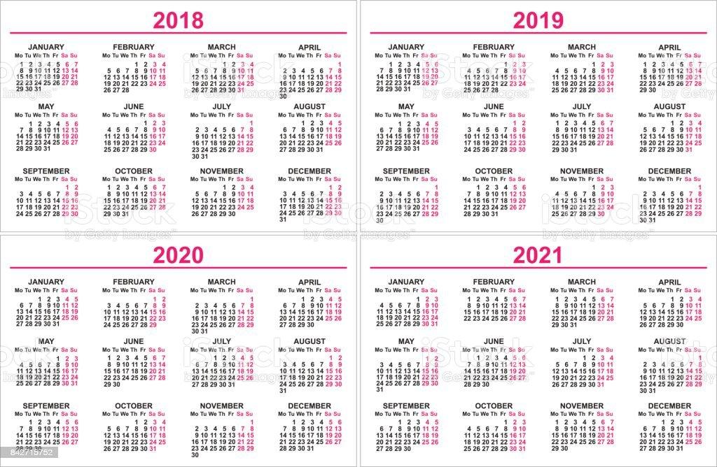 Set Wall Calendar 2018 2019 2020 2021 Grid Template Stock Vector Art