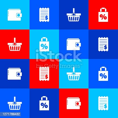 Set Wallet, Paper check and financial check, Shopping basket and Shoping bag with percent discount icon. Vector.