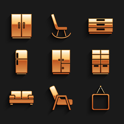Set Wardrobe, Armchair, Mirror, Sofa, Refrigerator, Chest drawers and icon. Vector
