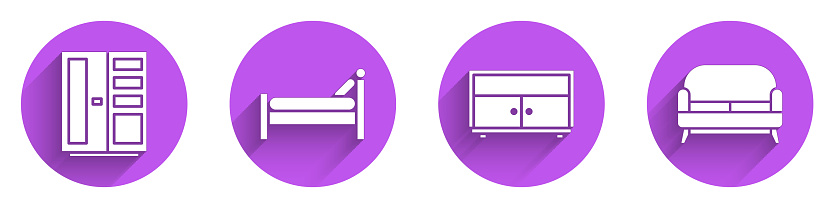 Set Wardrobe, Bed, Chest of drawers and Sofa icon with long shadow. Vector