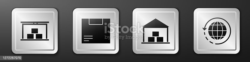 istock Set Warehouse, Carton cardboard box, Warehouse and Worldwide shipping and box icon. Silver square button. Vector 1272257070