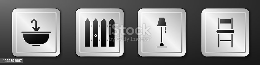 Set Washbasin with water tap, Garden fence wooden, Floor lamp and Chair icon. Silver square button. Vector
