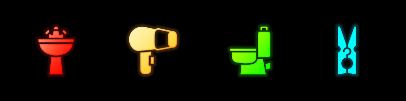 Set Washbasin with water tap, Hair dryer, Toilet bowl and Clothes pin icon. Vector