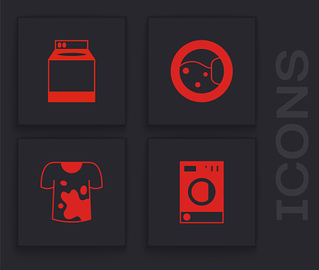 Set Washer, , and Dirty t-shirt icon. Vector