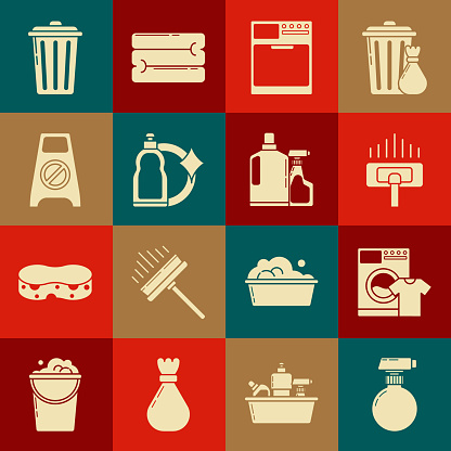 Set , Washer and t-shirt, Vacuum cleaner, Plastic bottles for liquid dishwashing liquid, Wet floor cleaning progress, Trash can and icon. Vector