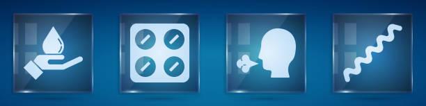 illustrazioni stock, clip art, cartoni animati e icone di tendenza di impostare lavarsi le mani con sapone, pillole in confezione blister, tosse dell'uomo e virus. pannelli di vetro quadrato. vettore - hand on glass covid